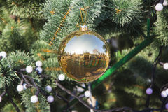 Golden glass decor at new year tree Stock Images