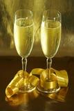 Golden glasses Stock Photos