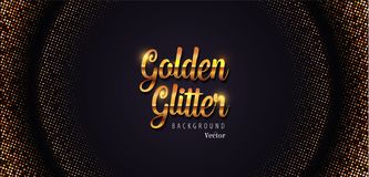 Golden Glitter Abstract Halftone Background Vector Illustration stock photos