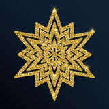 Golden glitter admirable snowflake. Royalty Free Stock Photo