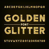 Golden glitter alphabet font. Bold letters and numbers Stock Photo