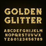Golden glitter alphabet font. Retro style letters and numbers. Stock Image