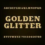 Golden glitter alphabet font. Slab serif letters numbers and symbols. Stock Images