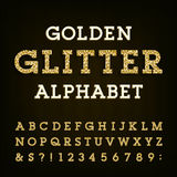 Golden glitter alphabet vector font. Royalty Free Stock Images