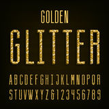 Golden glitter alphabet vector font Royalty Free Stock Photo