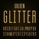 Golden glitter alphabet vector font Royalty Free Stock Photo
