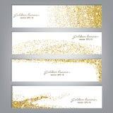 Golden glitter banner set. Tinsel shiny backdrops. Luxury gold template. Vector Stock Photos