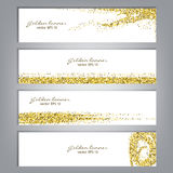 Golden glitter banner set. Tinsel shiny backdrops. Luxury gold template. Vector Stock Photography