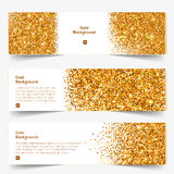 Golden Glitter banners set Royalty Free Stock Photography