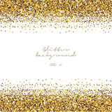 Golden glitter border background. Tinsel shiny backdrop. Luxury gold template. Vector Stock Image