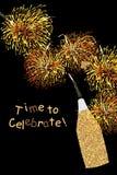 Golden glitter bottle celebrate card. Illustration design graphic bottle golden glitter firework celebrating card. Time to celebrate! element object Royalty Free Stock Photo