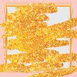 Golden glitter brush bright frame Stock Photography