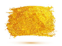 Golden glitter brush stroke isolated on white Stock Photography