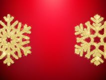 Golden glitter Christmas decoration object snowflakes for greeting cards, invitations, gifts on red. EPS 10 vector illustration