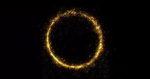 Free Golden Glitter Circle Of Sparkling Light Shine. Gold Glittering Ring, Magic Shimmer Glow, Bright Light Sparks Bokeh Effect Stock Photo - 159872860