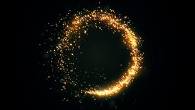 Golden glitter circle with sparkling light. Christmas gold particles ring