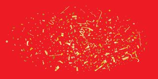 Golden glitter confetti on a red background. Illustration of a drop of shiny particles. Decorative element. Luxury background for your design, cards stock illustration