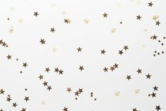 Free Golden Glitter, Confetti Stars Isolated On White Background. Christmas, Party Or Birthdau Background Stock Image - 159775441