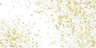 Golden glitter confetti on a white background. Illustration of a drop of shiny particles. Decorative element. Luxury background for your design, cards stock illustration