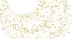 Golden glitter confetti on a white background. Illustration of a drop of shiny particles. Decorative element. Luxury background for your design, cards vector illustration