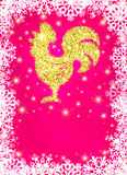 Golden glitter crowing rooster on Christmas background with snowflakes. Chinese symbol for the New year 2017. Stock Photos