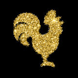 Golden glitter crowing rooster with sparkles isolated on black background. Chinese symbol for the New year 2017. Rooster silhouette with gold glitter confetti Stock Photography