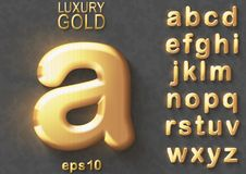 Golden glitter 3D lowercase english letters. Set of golden luxury 3D lowercase shiny english letters. Golden glitter metallic bold font on gray background. Good Vector Illustration
