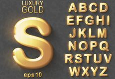 Golden glitter 3D uppercase english letters. Set of golden luxury 3D uppercase shiny english letters. Golden glitter metallic bold font on gray background. Good royalty free illustration