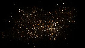 Golden glitter dust on black background. Sparkling splash illustration with gold powder. Bokeh glowing magic mist effect