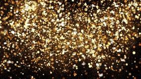 Golden glitter dust on black background. Sparkling splash illustration with gold powder. Bokeh glowing magic mist effect. Glamour stylish fashion backdrop stock images