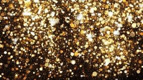 Golden glitter dust on black background. Sparkling splash illustration with gold powder. Bokeh glowing magic mist effect stock image