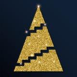 Golden glitter elegant christmas tree. Royalty Free Stock Images
