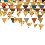 Golden glitter flag hang decor Royalty Free Stock Photography