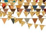 Golden glitter flag hang decor Royalty Free Stock Photography