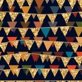 Golden glitter flag hang seamless pattern vector illustration