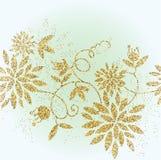 Golden glitter flower background. Tinsel shiny backdrop. Luxury gold template. Stock Photos