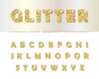 Golden glitter font  on white. Modern decorative alphabet for festive design. Girly. Vector Stock Image