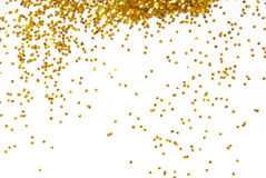 Golden glitter frame background. Golden glitter frame on white background Stock Photography