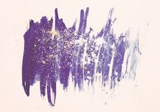 Golden glitter and glittering stars on abstract blue watercolor splash in vintage nostalgic colors. Golden glitter and glittering stars on abstract blue stock illustration