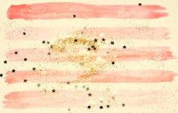 Golden glitter and glittering stars on abstract pink watercolor splash in vintage nostalgic colors. Golden glitter and glittering stars on abstract pink vector illustration