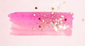 Golden glitter and glittering stars on abstract pink watercolor splash on white background. For your design royalty free illustration