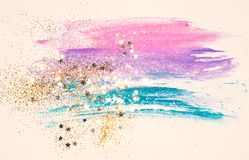 Golden glitter and glittering stars on abstract watercolor splash in vintage nostalgic colors. Golden glitter and glittering stars on abstract watercolor splash royalty free illustration