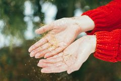 Golden glitter on hands royalty free stock images