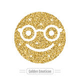 Golden glitter happy emoticon in glasses. Hipster style. Vector Royalty Free Stock Photos