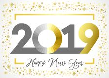 2019 golden glitter Happy New Year xmas greetings card. Happy New Year gold snowy winter background, stained glass null, isolated 20, 19 and 0 bright numbers royalty free illustration