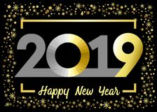 2019 golden glitter Happy New Year xmas greetings. Happy New Year gold snowy winter background, stained glass null, isolated 20, 19 and 0 bright numbers royalty free illustration