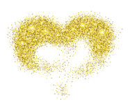 Golden glitter heart. Love symbol,  on white Royalty Free Stock Image