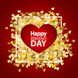 Golden glitter heart red background template Royalty Free Stock Photography