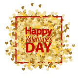 Golden glitter heart red background Royalty Free Stock Photography