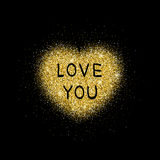Golden glitter heart. Royalty Free Stock Photography